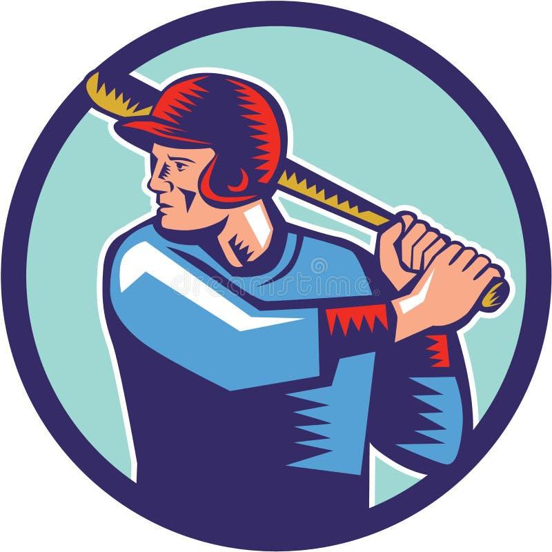 Gracza Baseballa ciasta naleśnikowego uderzenia kijem okręgu Woodcut ilustracja wektor