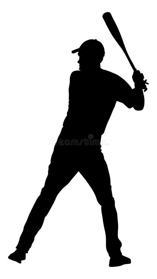 Gracza baseballa wektoru sylwetka Baseballa ciasta naleśnikowego ciupnięcia piłka z nietoperzem dla bazy domowej royalty ilustracja