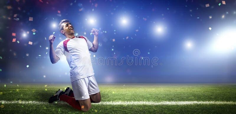Gracza futbolu ` s celu świętowanie fotografia stock