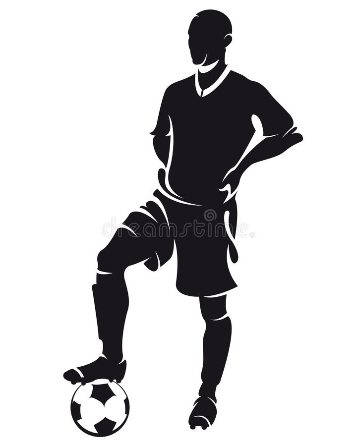 gracza futbolu sylwetki piłki nożnej wektor royalty ilustracja