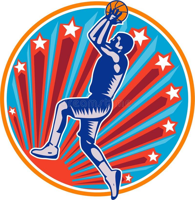 Gracza Koszykówki rzut z wyskoku okręgu Balowy Woodcut retro royalty ilustracja
