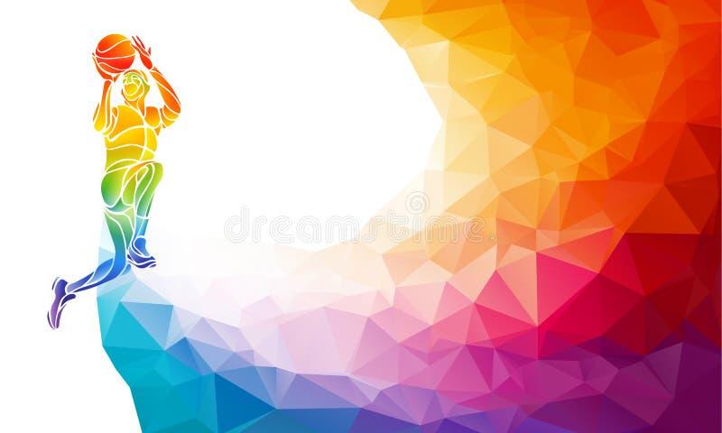 Gracza koszykówki rzut z wyskoku poligonalna sylwetka na kolorowym niskim poli- tle ilustracji