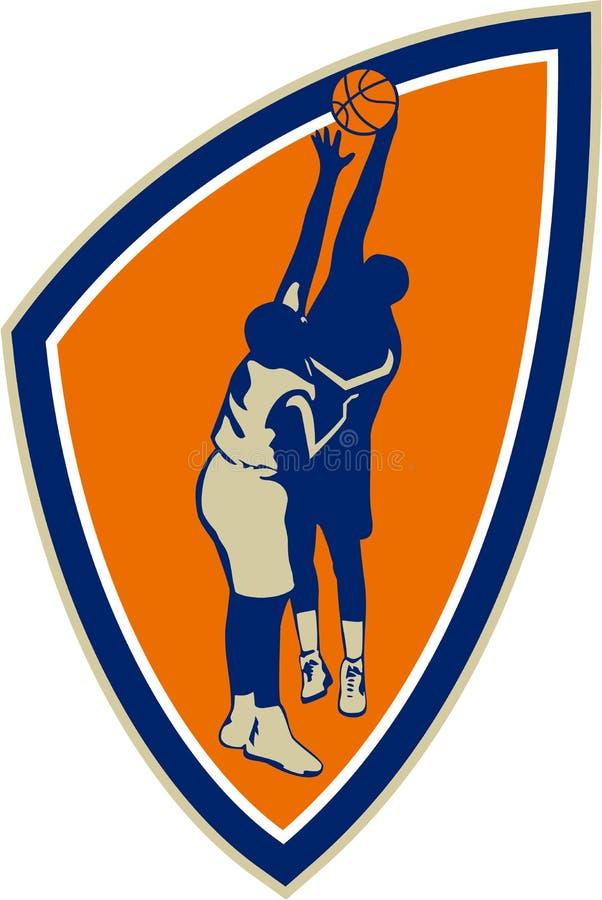 Gracza Koszykówki wsadu bloku Balowa osłona Retro ilustracja wektor