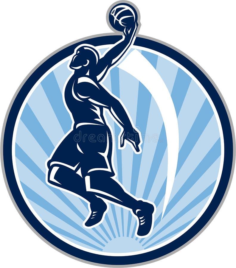 Gracza Koszykówki wsadu piłka Retro ilustracji