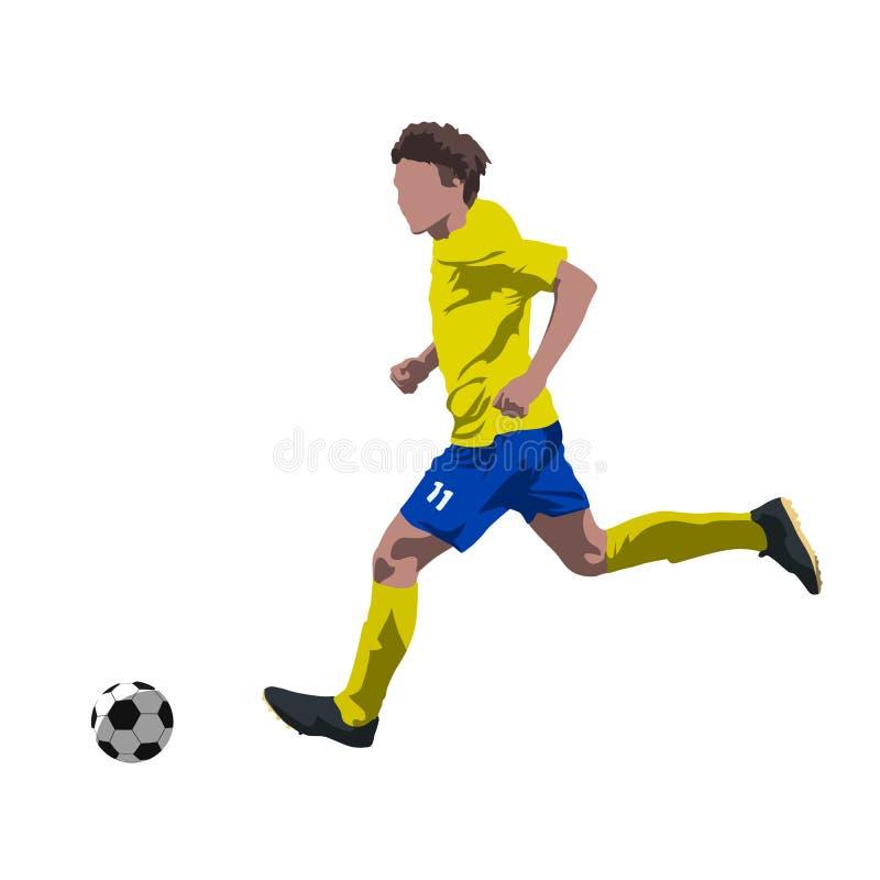 Gracza piłki nożnej bieg z piłką ilustracji