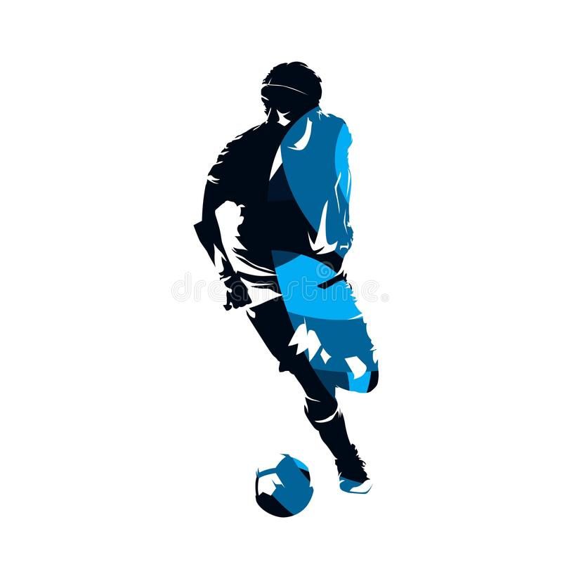 Gracza piłki nożnej bieg z piłką, abstrakcjonistyczna błękitna wektorowa sylwetka royalty ilustracja