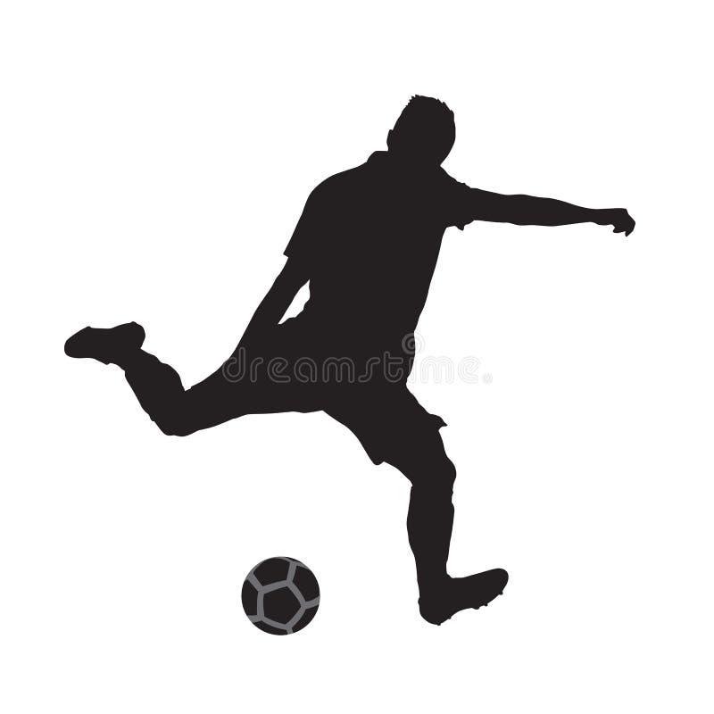 Gracza piłki nożnej kopania piłka, odosobniona sylwetka ilustracji