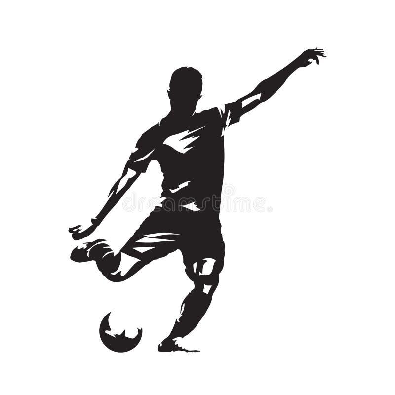 Gracza piłki nożnej kopania piłka, odosobniony wektorowy slhouette Fooballer royalty ilustracja