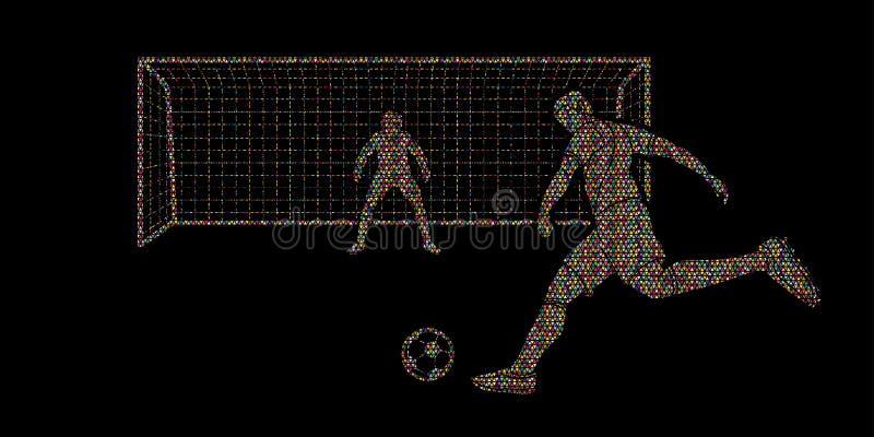 Gracza piłki nożnej kopania piłka z bramkarzem ilustracja wektor