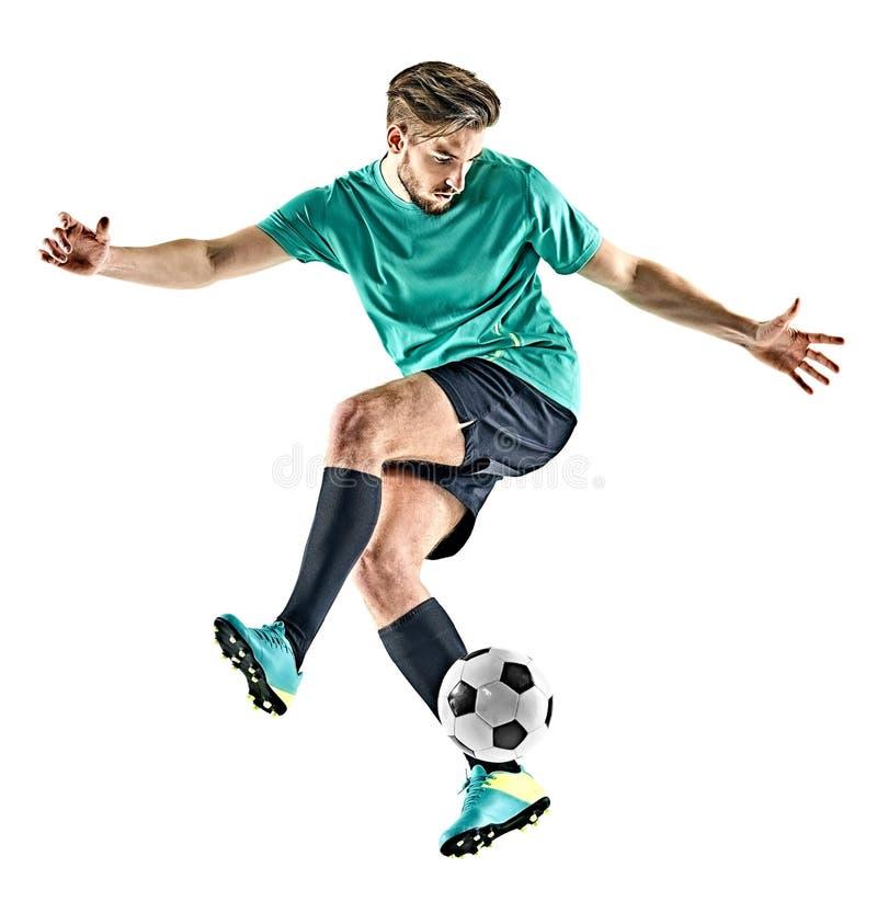 Gracza piłki nożnej mężczyzna jungling odosobnionego białego tło zdjęcia royalty free