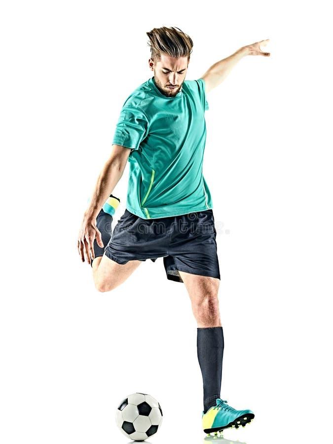 Gracza piłki nożnej mężczyzna Odizolowywający zdjęcie royalty free