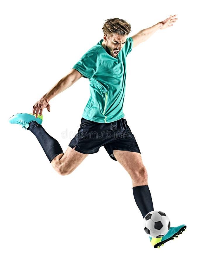 Gracza piłki nożnej mężczyzna Odizolowywający zdjęcia royalty free