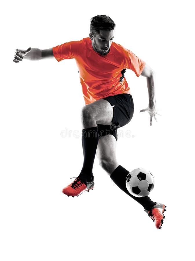 Gracza piłki nożnej mężczyzna Odosobniona sylwetka zdjęcia royalty free