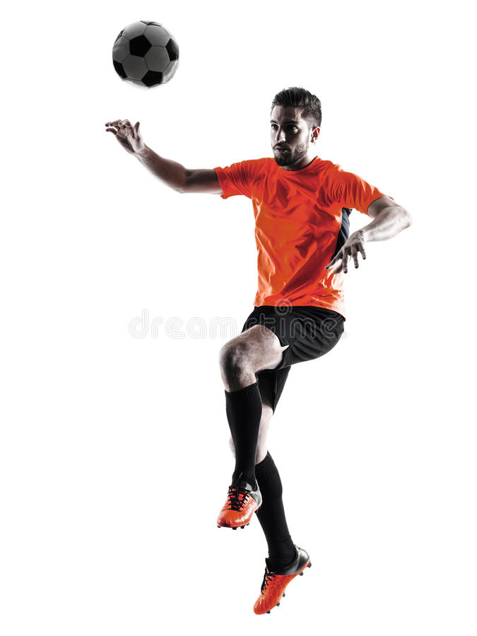 Gracza piłki nożnej mężczyzna Odosobniona sylwetka obrazy royalty free