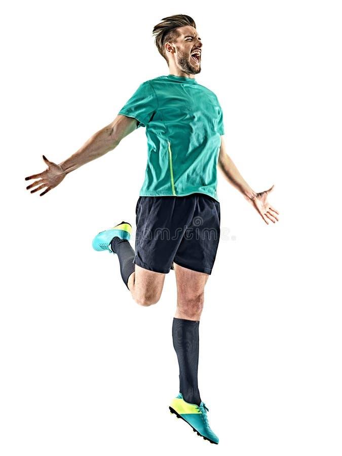 Gracza piłki nożnej mężczyzna szczęśliwy świętowanie odizolowywający fotografia royalty free