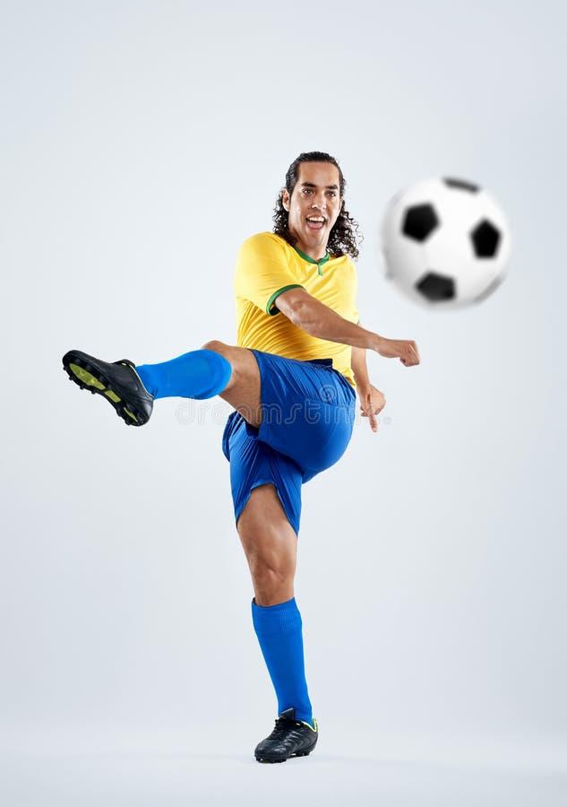 Gracza piłki nożnej strajk obrazy royalty free