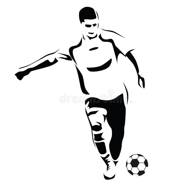 Gracza piłki nożnej wektoru sylwetka Działający gracz royalty ilustracja