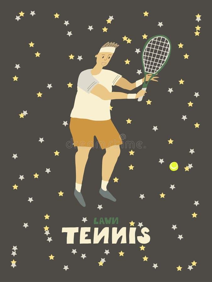 Gracza w tenisa faceta mężczyzna z kantem i piłką ilustracja wektor