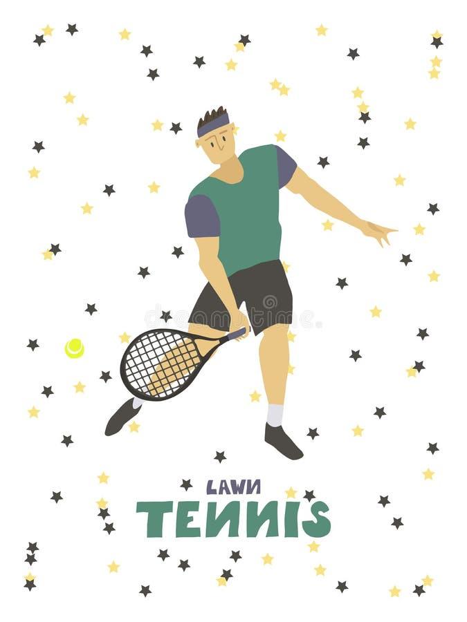 Gracza w tenisa faceta m??czyzna z kantem i pi?k? ilustracja wektor