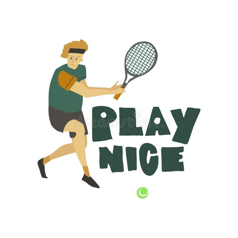 Gracza w tenisa mężczyzna z kant sztuki ładnym freehand tekstem ilustracja wektor