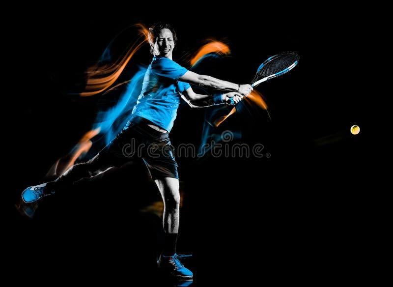Gracza w tenisa m??czyzna odizolowywa? czarnego t?a ?wiat?a obrazu pr?dko?ci ruch obrazy stock