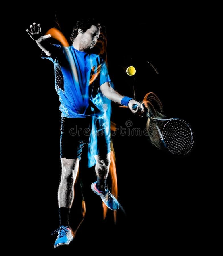 Gracza w tenisa m??czyzna odizolowywa? czarnego t?a ?wiat?a obrazu pr?dko?ci ruch zdjęcia stock