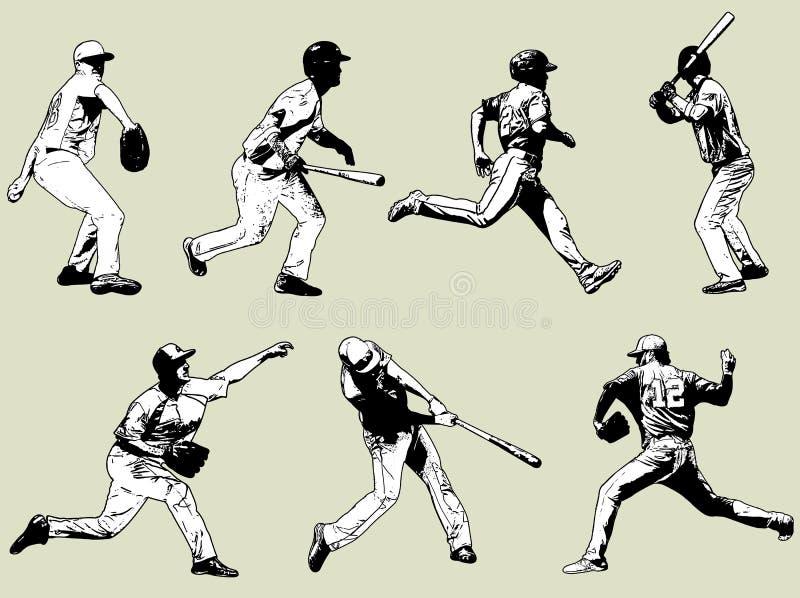 Gracze baseballa ustawiający - nakreślenie ilustracja ilustracja wektor