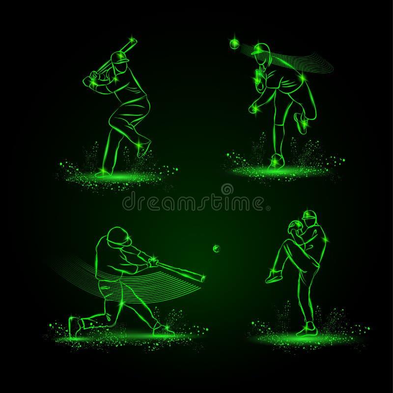 Gracze baseballa ustawiający tła czarny ikon neon umieszczał styl sześć royalty ilustracja