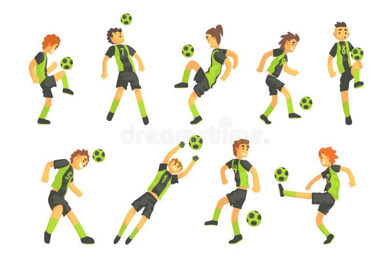 Gracze Futbolu Jeden drużyna Z piłki ilustraci Odosobnionym setem royalty ilustracja