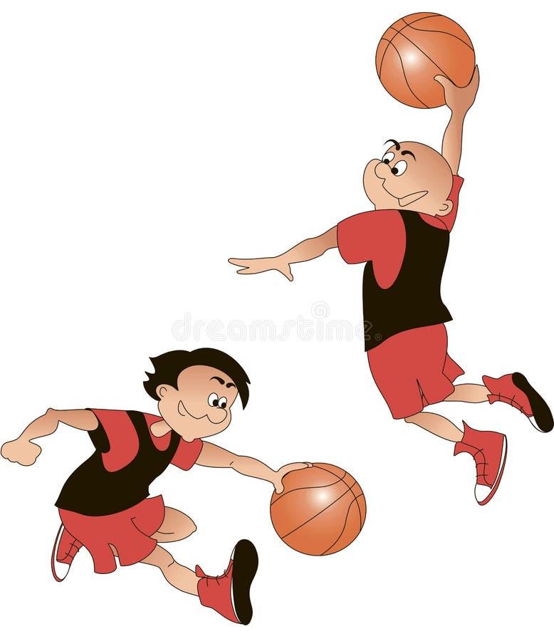 Gracze koszykówki kreskówka, wektor obrazy stock