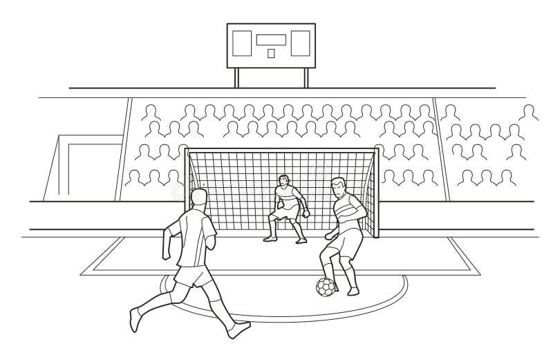 Gracze Piłki Nożnej Broni bramy Widzowie siedzą w stojakach stadium ilustracji