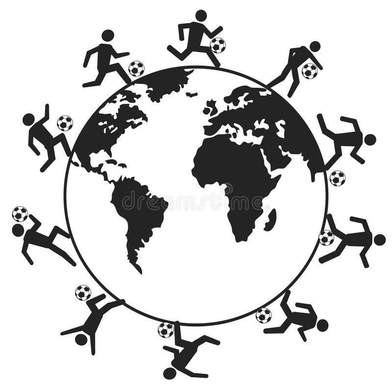 Gracze piłki nożnej dookoła świata ilustracji