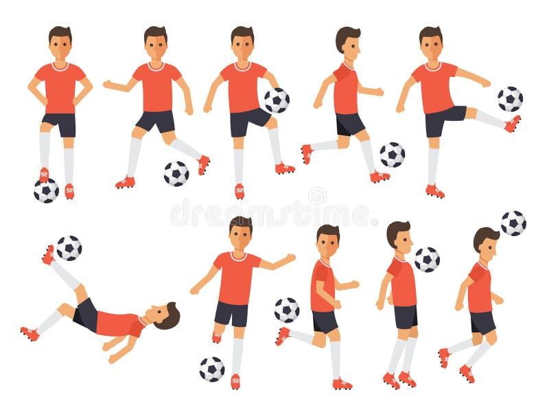 Gracze piłki nożnej, futbolowe sport atlety w akcjach ilustracji