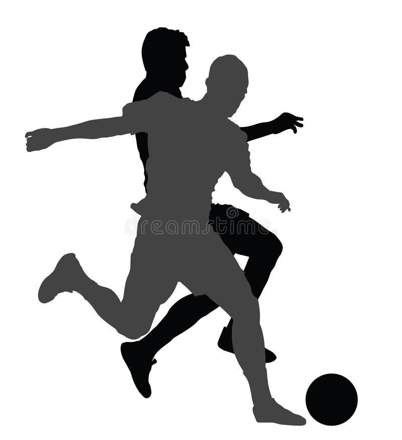 Gracze piłki nożnej w pojedynek sylwetkach ilustracji