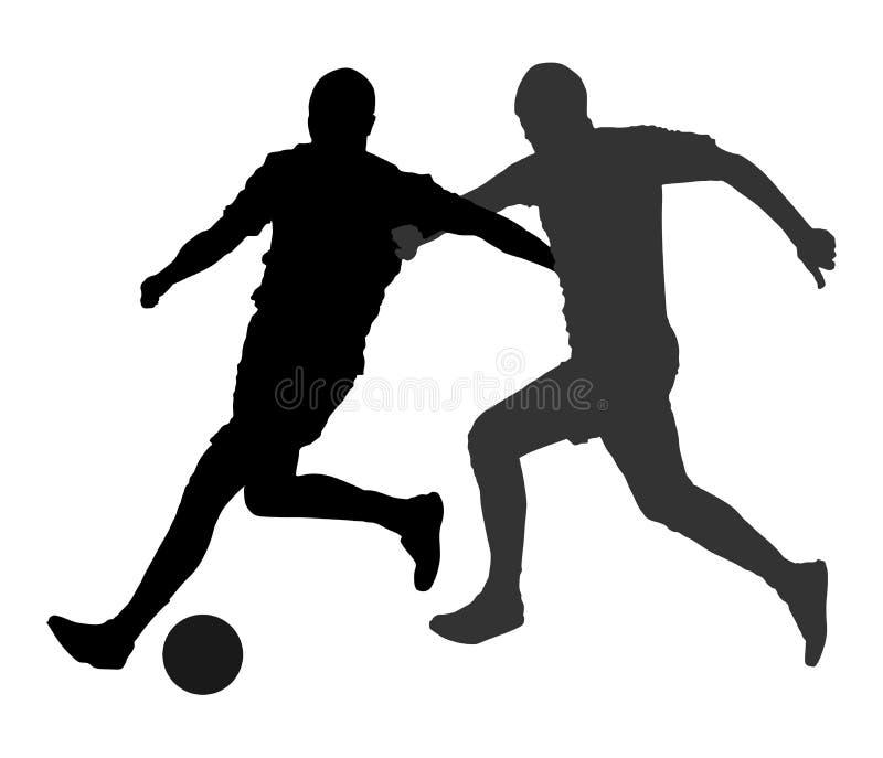 Gracze piłki nożnej w pojedynku wektoru sylwetkach ilustracja wektor