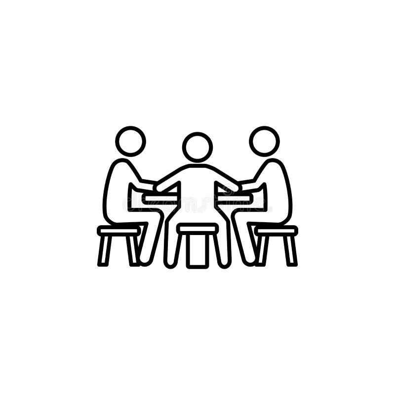 gracze przy stołem w kasynowej ikonie Element kasyno dla mobilnych pojęcia i sieci apps Cienka kreskowa ikona dla strona internet royalty ilustracja