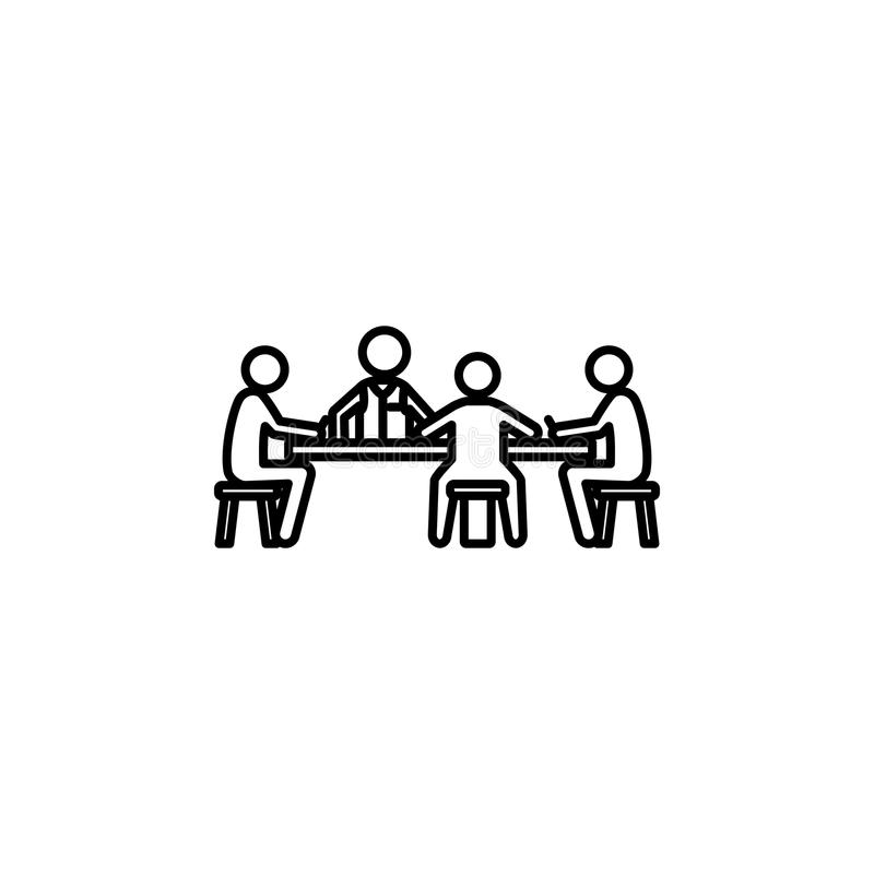 gracze przy stołem w kasynowej ikonie Element kasyno dla mobilnych pojęcia i sieci apps Cienka kreskowa ikona dla strona internet ilustracji