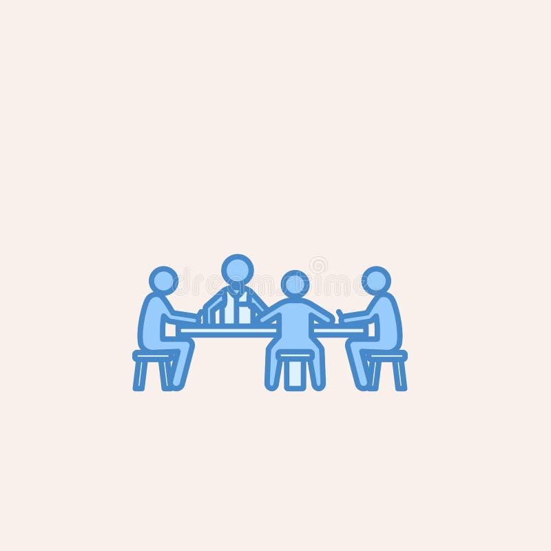 gracze przy stołem w kasynowej ikonie Element kasynowa ikona dla mobilnych pojęcia i sieci apps Śródpolni konturów gracze przy ta ilustracja wektor