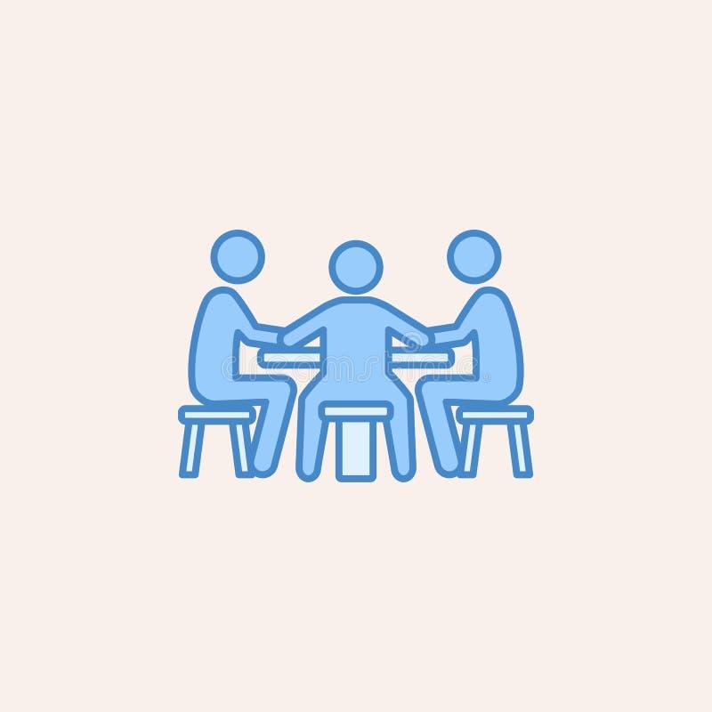 gracze przy stołem w kasynowej ikonie Element kasynowa ikona dla mobilnych pojęcia i sieci apps Śródpolni konturów gracze przy ta royalty ilustracja