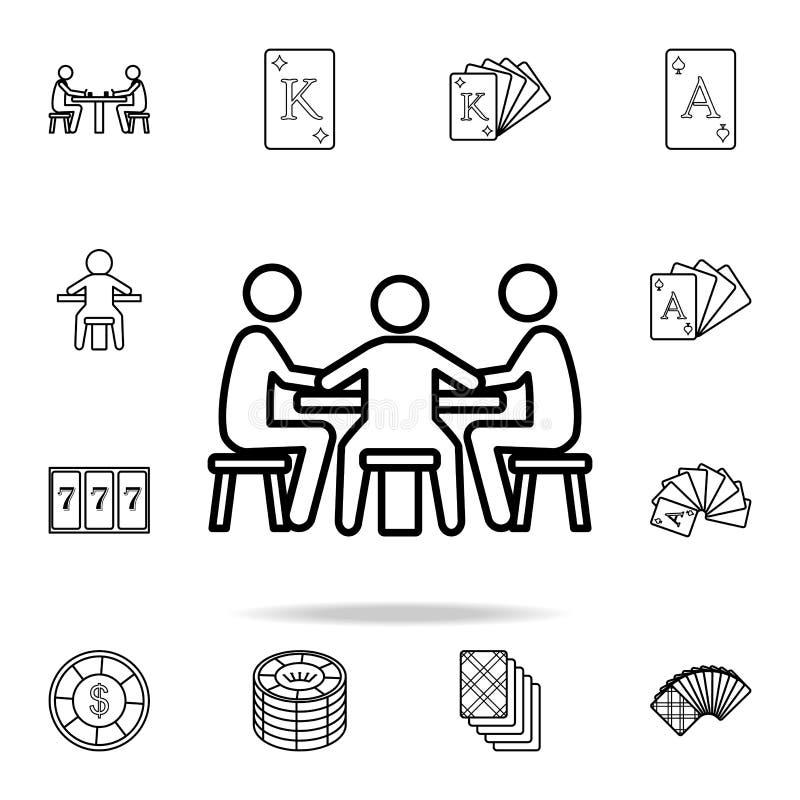 gracze przy stołem w kasynowej ikonie Szczegółowy konturu set kasynowe element ikony Premia graficzny projekt Jeden ilustracja wektor