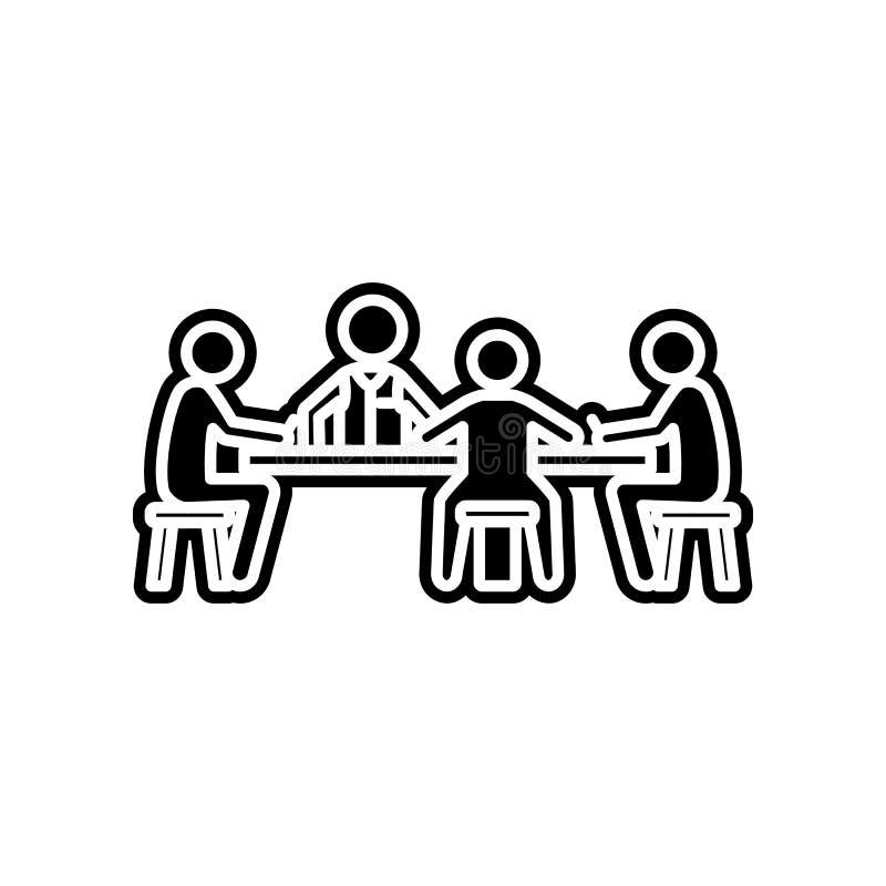 gracze przy sto?em w kasynowej ikonie Element kasyno dla mobilnego poj?cia i sieci apps ikony Glif, p?aska ikona dla strony inter ilustracji