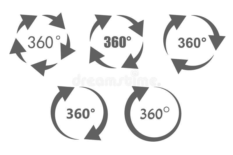 360 grad överblicksymboler vektor illustrationer