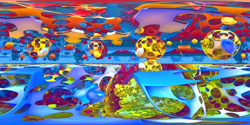 360 grad abstrakt begrepp, formkaospanorama, equirectangular projektion, miljööversikt Sfärisk panorama för HDRI stock illustrationer