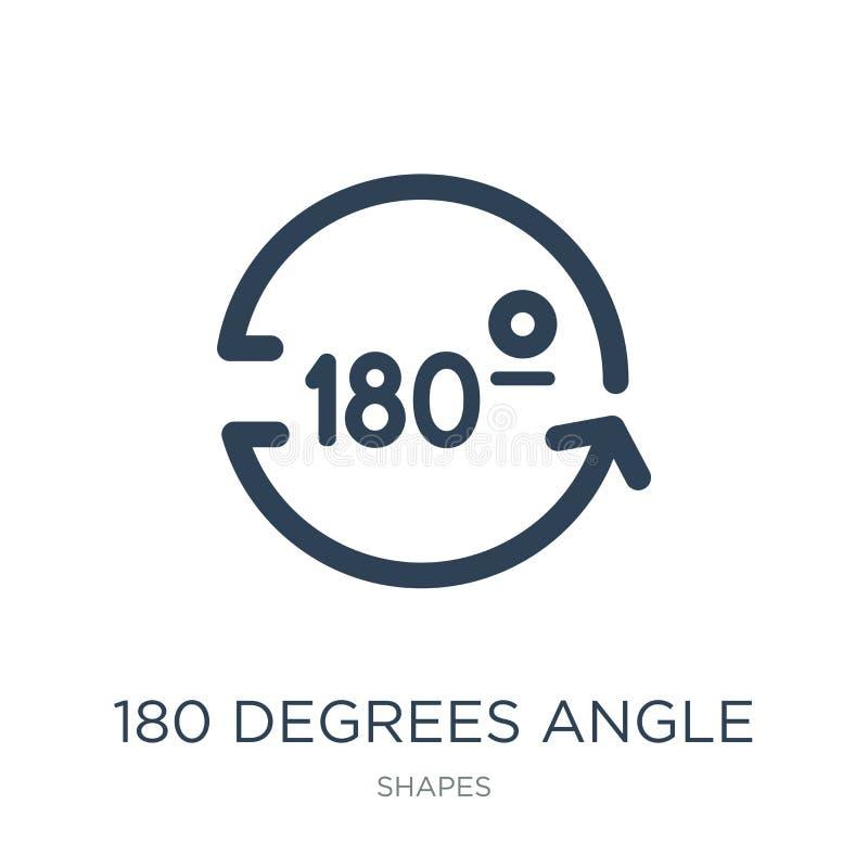 180 Grad angeln Ikone in der modischen Entwurfsart 180 Grad angeln die Ikone, die auf weißem Hintergrund lokalisiert wird 180 Gra stock abbildung