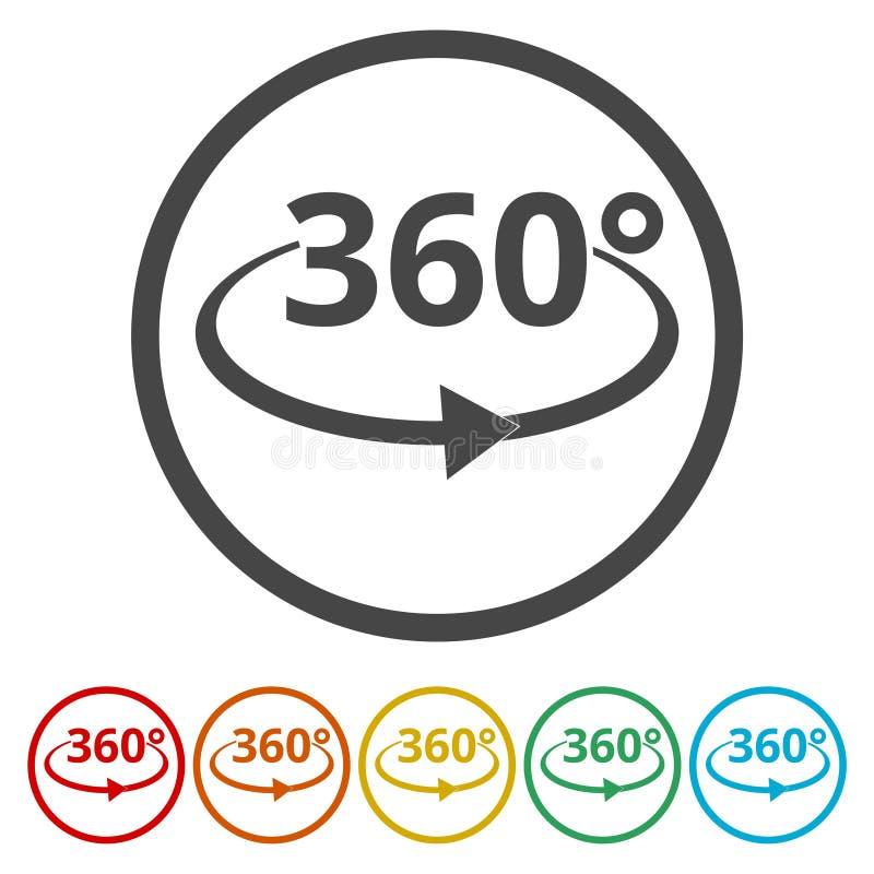 360 Grad Ansicht-Vektor-Ikonen- lizenzfreie abbildung