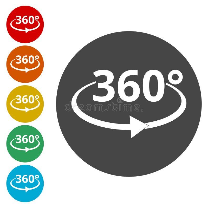 360 Grad Ansicht-Vektor-Ikonen- vektor abbildung