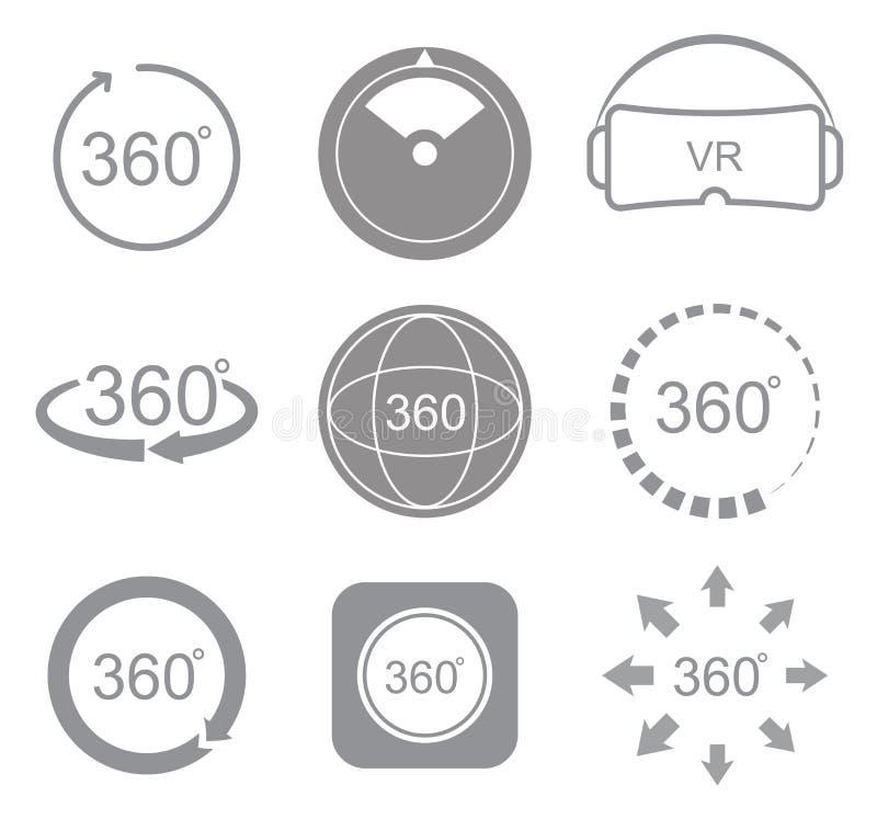 360 Grad Ansichtzeichen-Ikone lizenzfreie abbildung