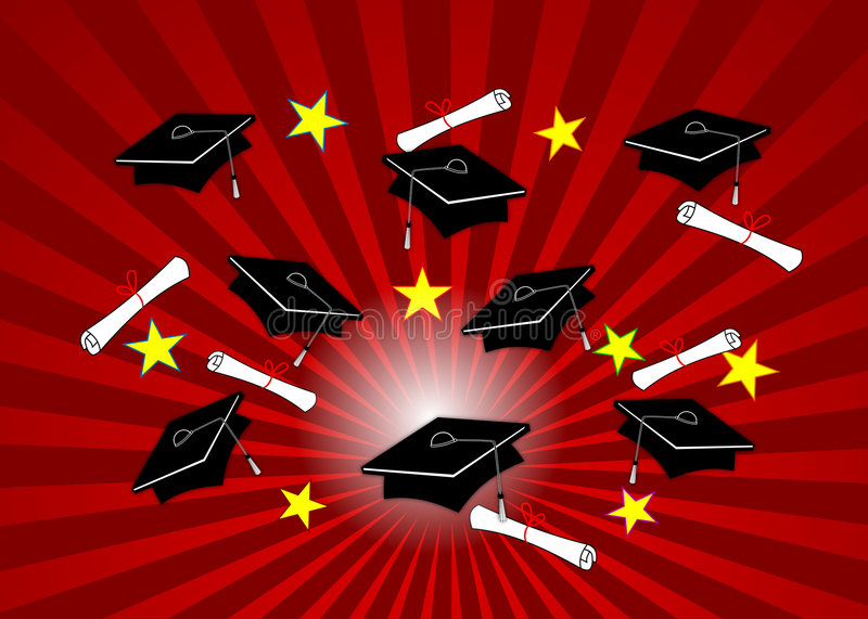 Download Grad Caps on Red Radial stock illustration. Image of tassels - 5047818