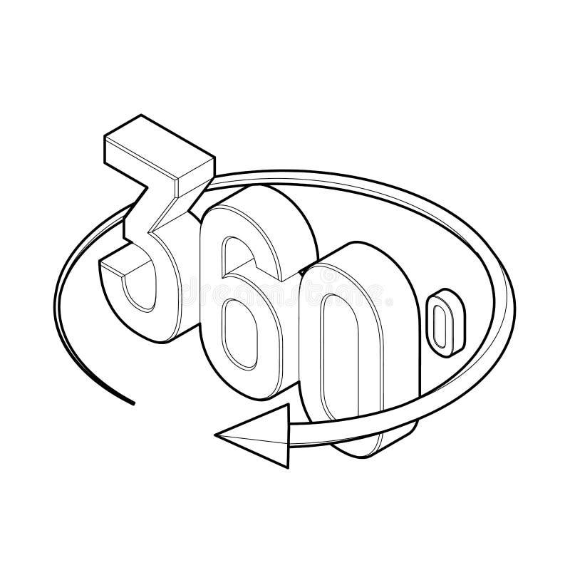 360 Grad Ikone isometrischer Winkel 3d 360 Grad Ansichtzeichen Virtuelle Realität Geometriemathesymbol Auch im corel abgehobenen  stock abbildung