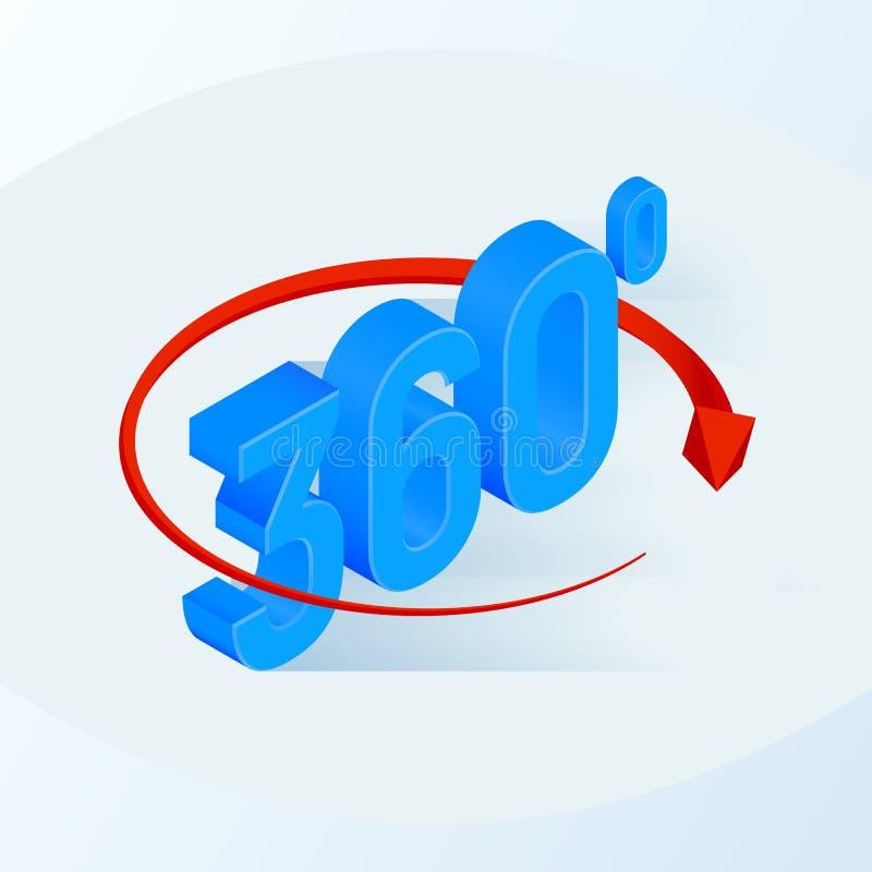 360 Grad Ikone isometrischer Winkel 3d 360 Grad Ansichtzeichen Virtuelle Realität Geometriemathesymbol Auch im corel abgehobenen  lizenzfreie abbildung